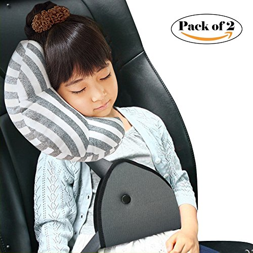 Car Seat Travel Pillow Neck Support And Seatbelt Adjuster For Kids
