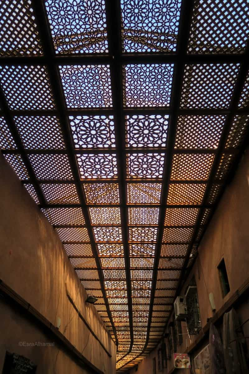 Ceiling of a street in Marrakech