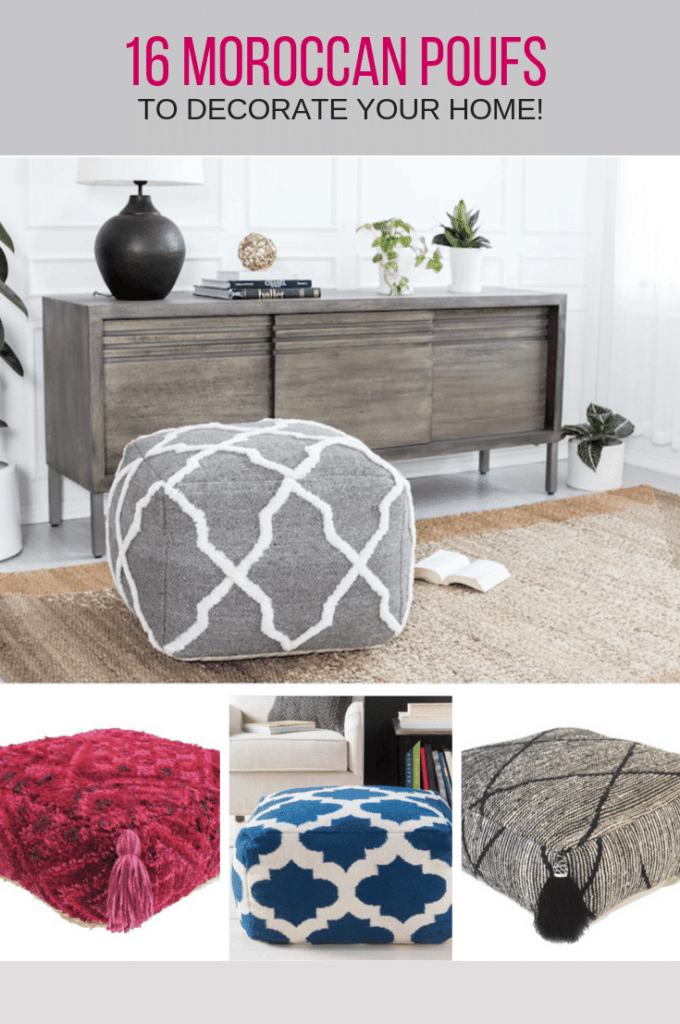 16 Moroccan Inspired poufs to decorate your home.