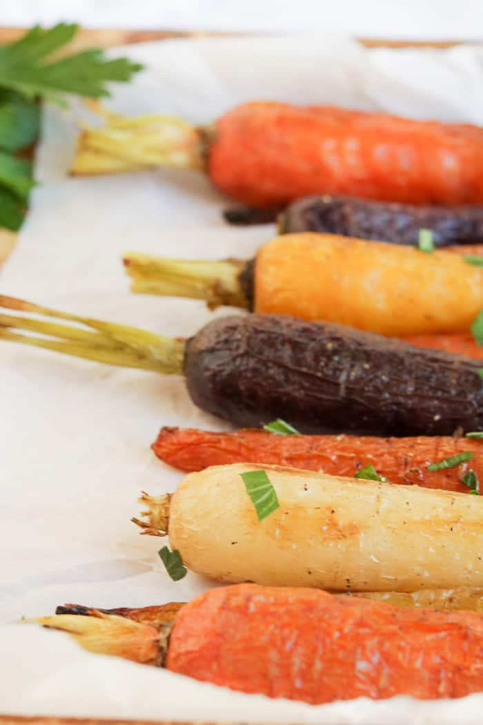 Ras al hanout spice roasted carrots that are a great side dish for any meal.