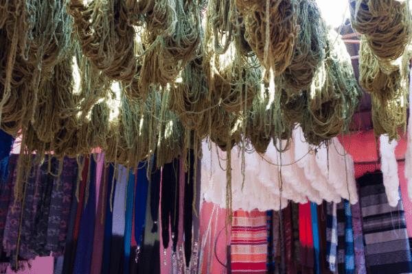 Street in Marrakech with yarn hanging to dry