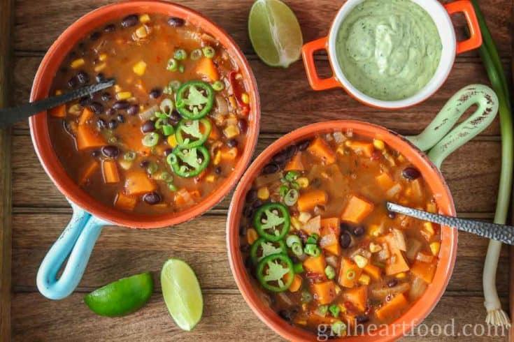 Black Bean Sweet Potato Soup {seriously delicious!}