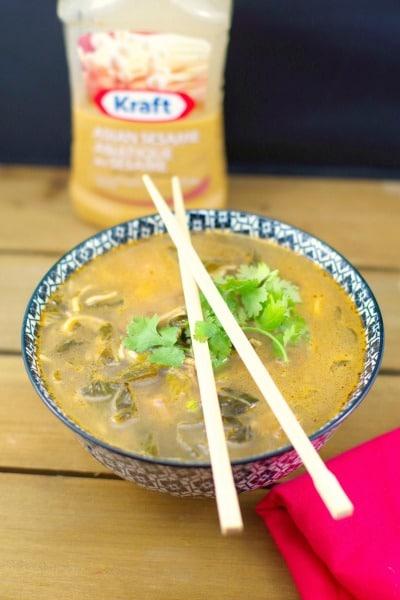 Quick Asian Sesame Beef Noodle Soup (Gluten-free)