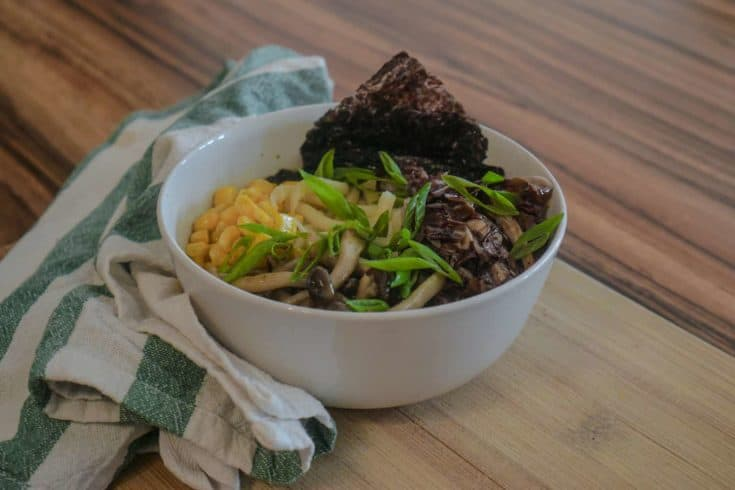 Vegan Udon Noodle Soup with Miso Broth & Corn