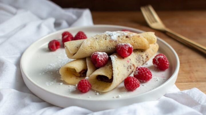 Beghrir with Nutella and Wild Raspberries