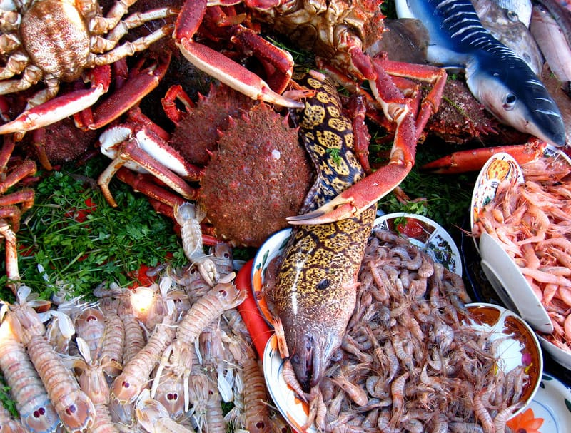 Table with a variety of seafood for sale