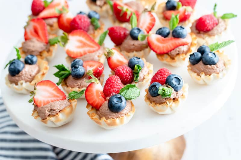 Bite Size Fruit and Chocolate Mousse Cups