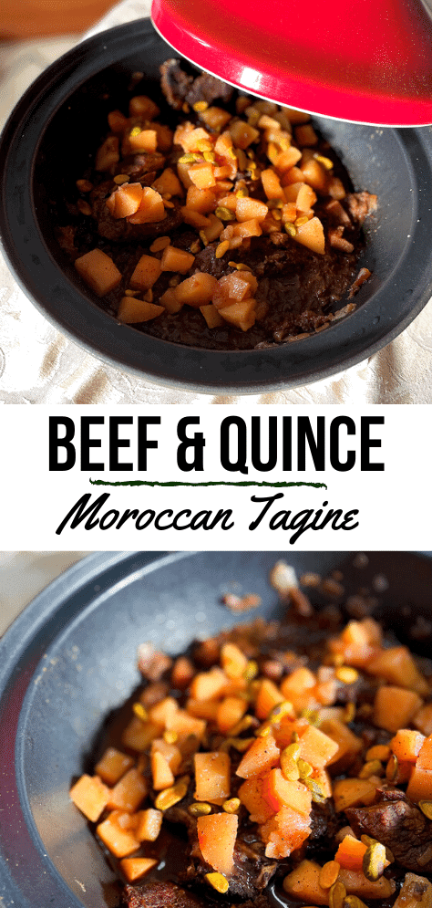 Long image with a red tagine at the top and contents of the tagine below.