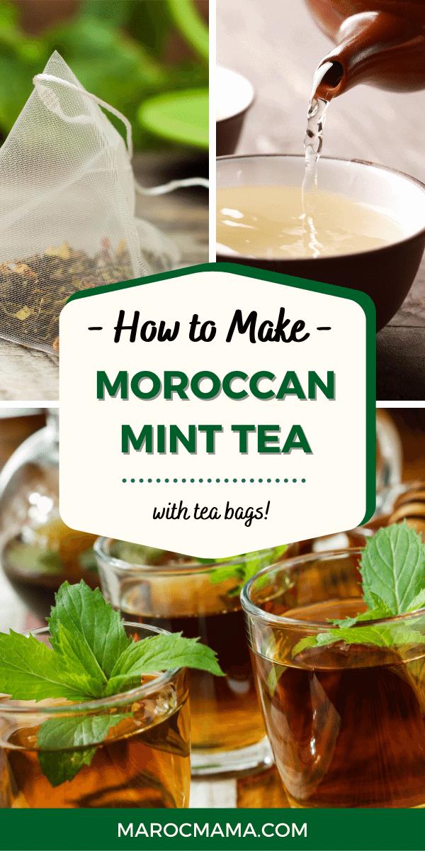 Three pictures that show a tea bag, a tea pot and glasses of mint tea