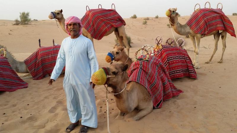 A man in a tradtional dishdash headress stands next to a camel with a red blanket on its back.