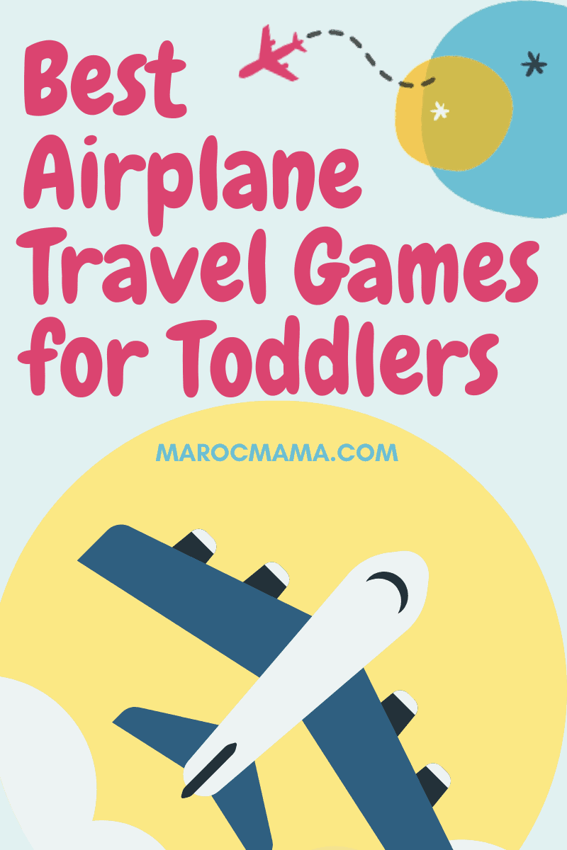 The Best Airplane Travel Games for Toddlers. Blue airplane on a yellow sun.