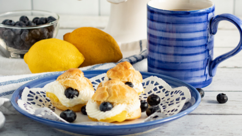 From Scratch, Easy Lemon Blueberry Cream Puffs