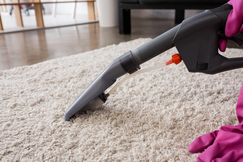 Professional carpet cleaner on a white rug
